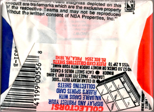 1989-90 Fleer Basketball Wax Pack back image