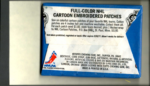 1976-77 Topps Hockey Wax Pack back image