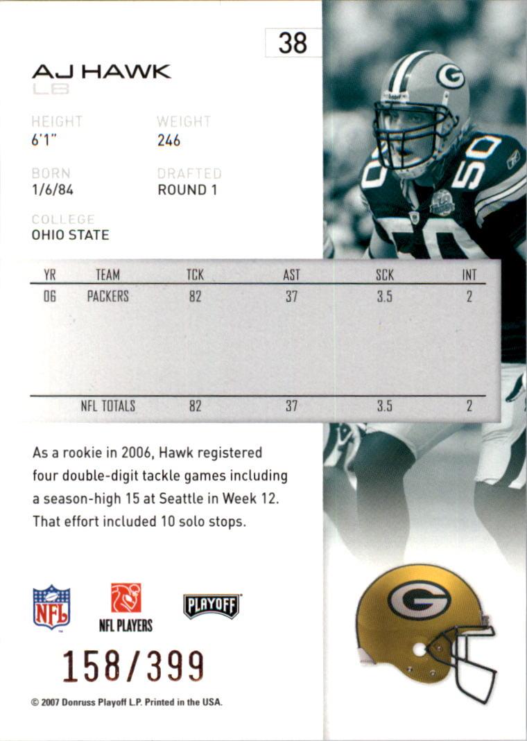 2007-Playoff-NFL-playoffs-Rojo-Metalizado-De-Futbol-Tarjeta-Pick miniatura 77