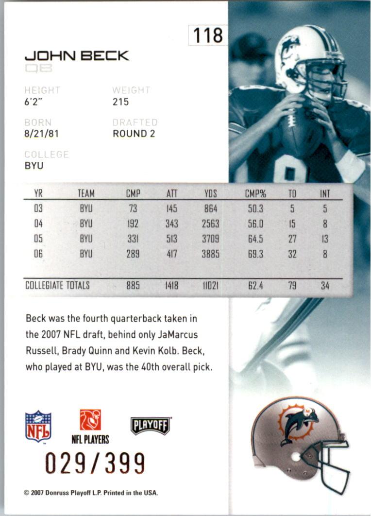 2007-Playoff-NFL-playoffs-Rojo-Metalizado-De-Futbol-Tarjeta-Pick miniatura 237