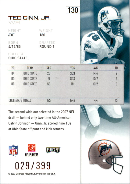 2007-Playoff-NFL-playoffs-Rojo-Metalizado-De-Futbol-Tarjeta-Pick miniatura 261