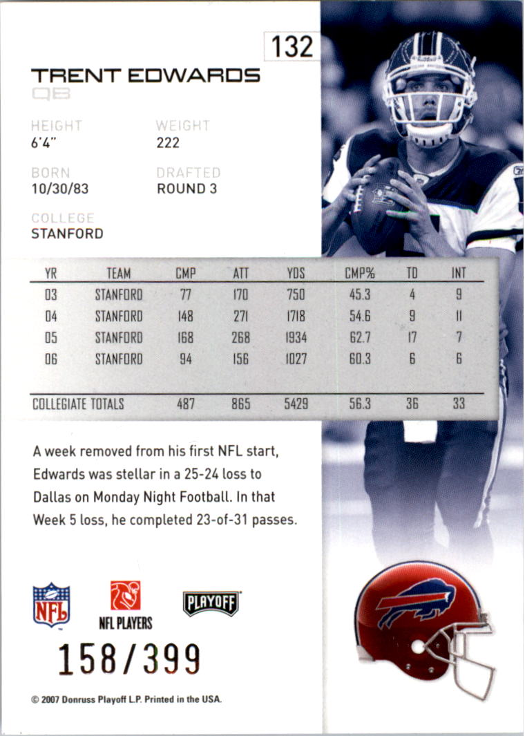 2007-Playoff-NFL-playoffs-Rojo-Metalizado-De-Futbol-Tarjeta-Pick miniatura 265