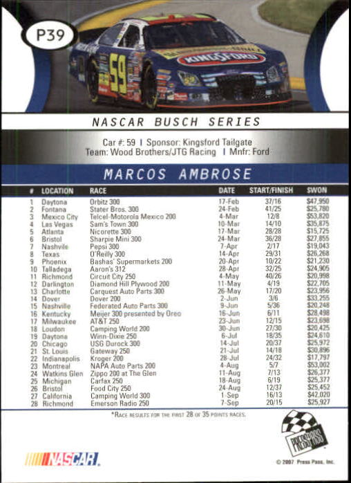 2008 Press Pass Platinum #P39 Marcos Ambrose NBS back image