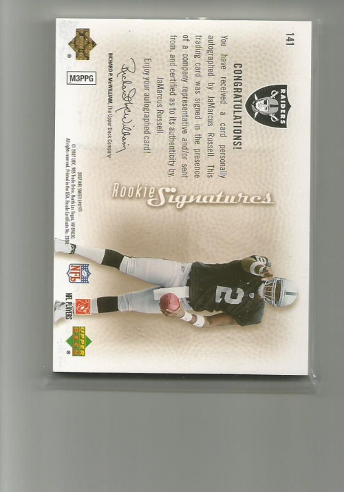 2007 Sweet Spot Rookie Signatures Gold 15 #141 JaMarcus Russell back image