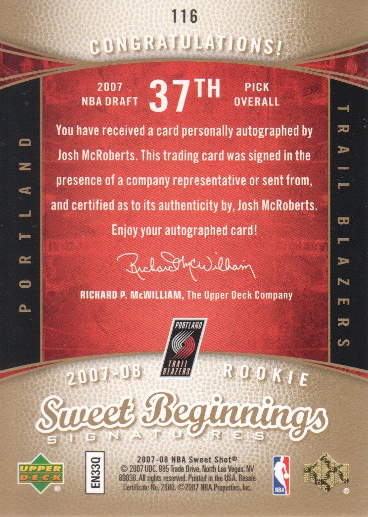 2007-08 Sweet Shot #116 Josh McRoberts AU RC back image