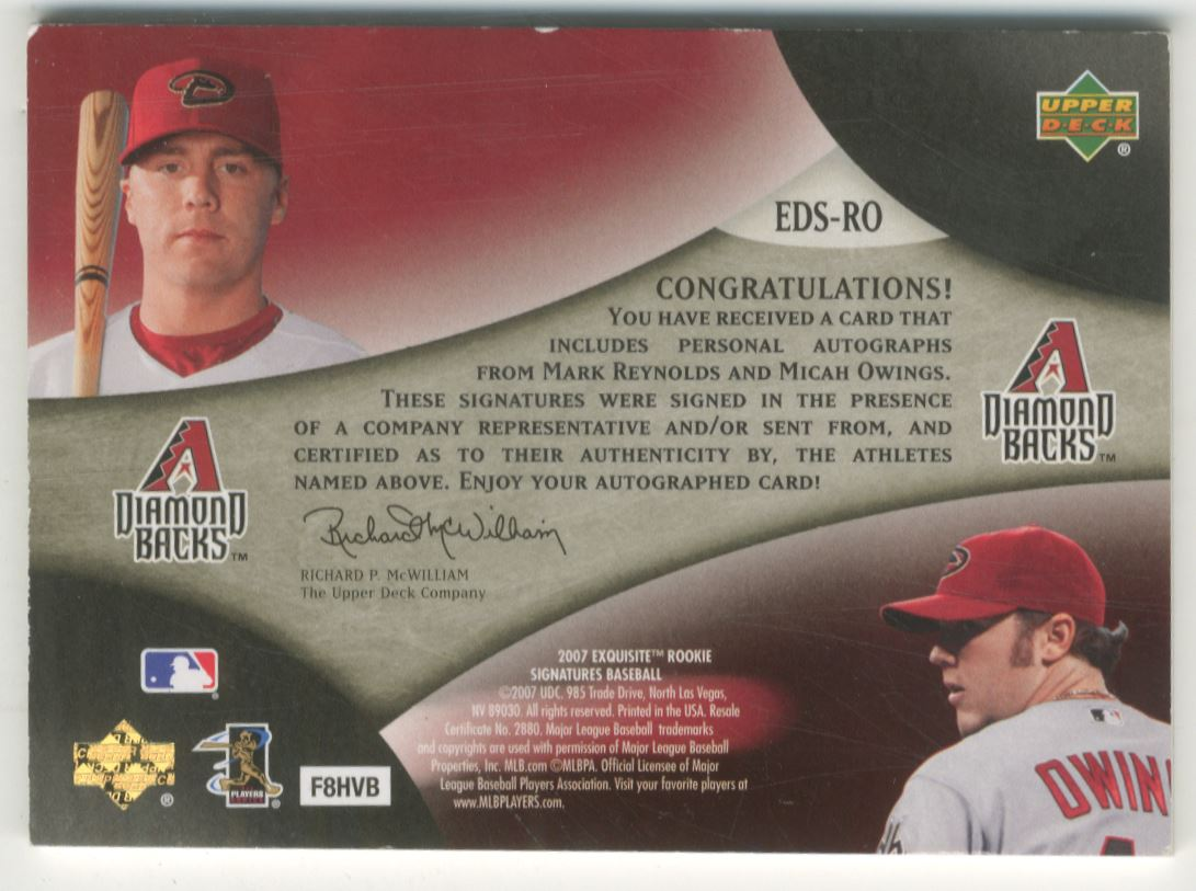 2007 Exquisite Collection Rookie Signatures Dual Signatures #RO Mark Reynolds/Micah Owings/35 back image