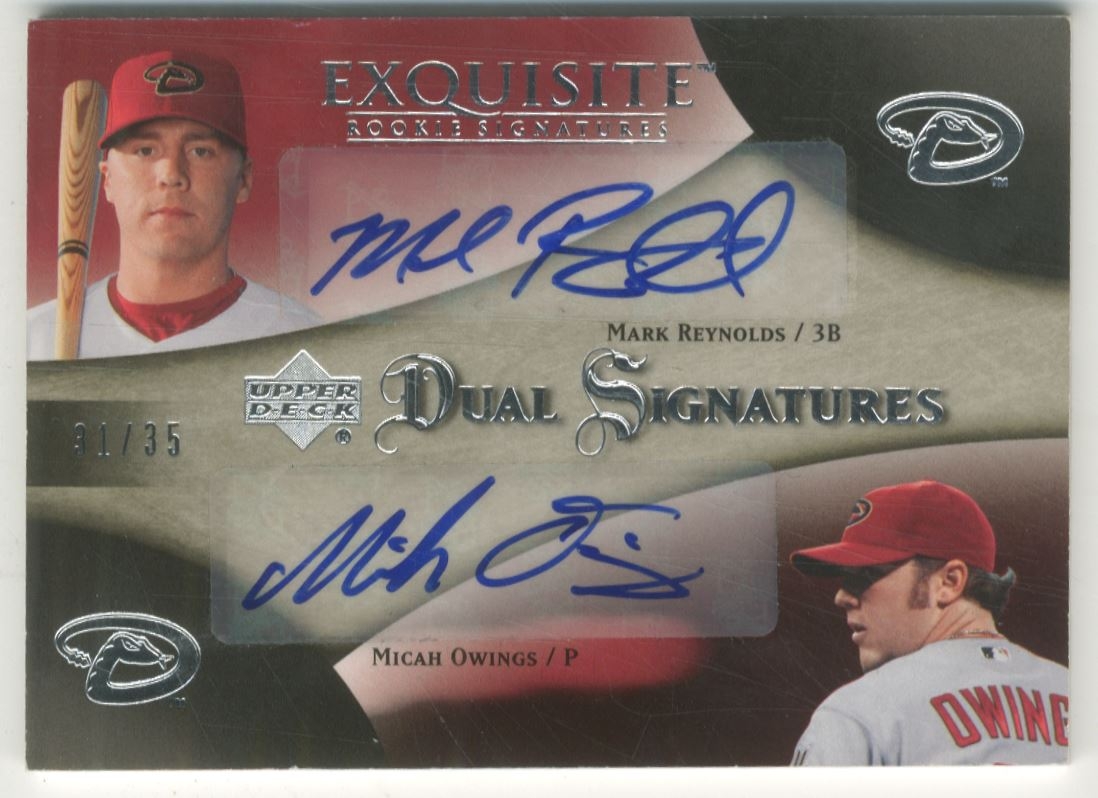 2007 Exquisite Collection Rookie Signatures Dual Signatures #RO Mark Reynolds/Micah Owings/35