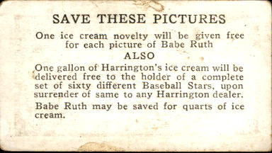 1928 Harrington's Ice Cream #1 Burleigh Grimes back image