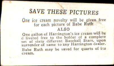 1928 Harrington's Ice Cream #37 Earl Sheely back image