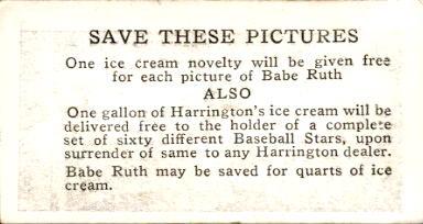 1928 Harrington's Ice Cream #41 Bucky Harris back image
