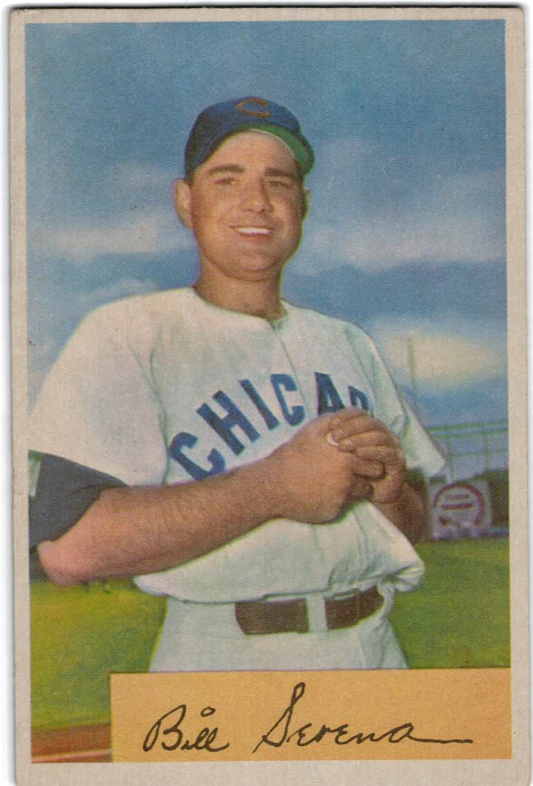 1954 Bowman #93B Bill Serena/.977/.966 Fielding Avg.