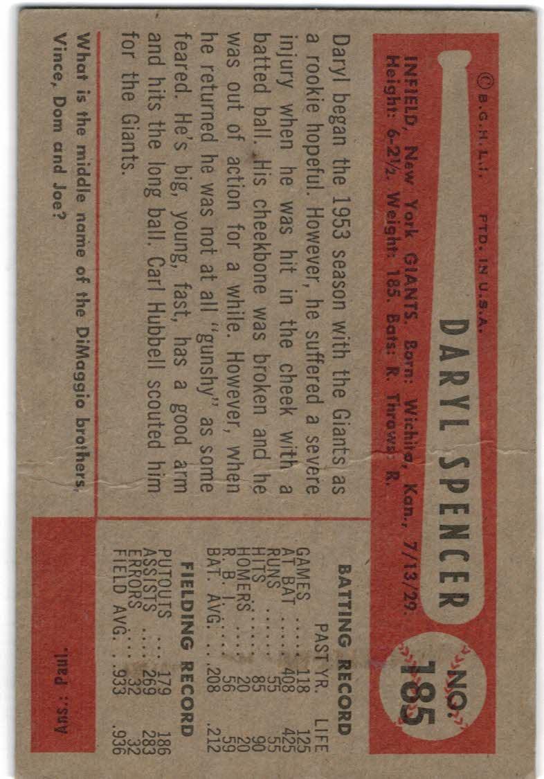 1954 Bowman #185B Daryl Spencer/.933/.936 Fielding Avg. RC back image