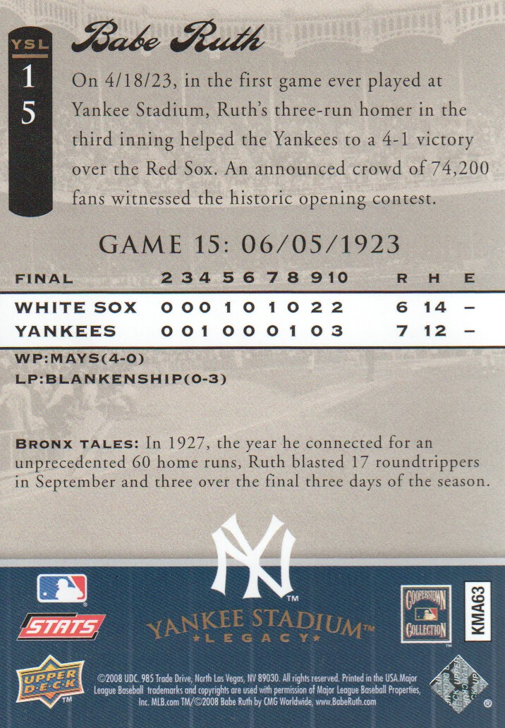 2008 Upper Deck Yankee Stadium Legacy Collection #15 Babe Ruth back image