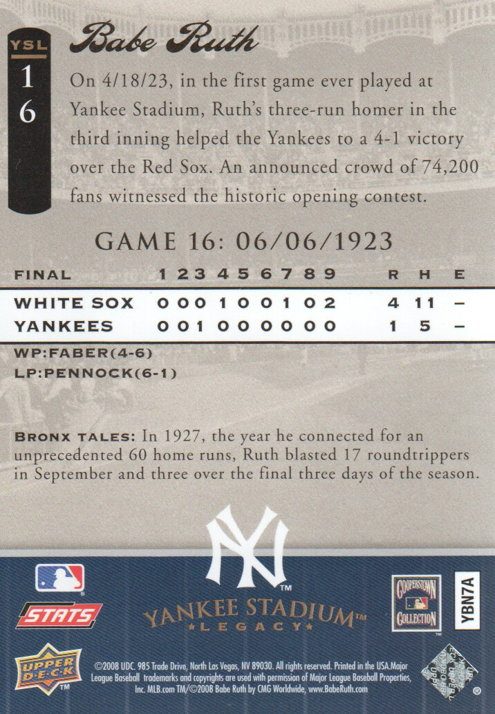 2008 Upper Deck Yankee Stadium Legacy Collection #16 Babe Ruth back image