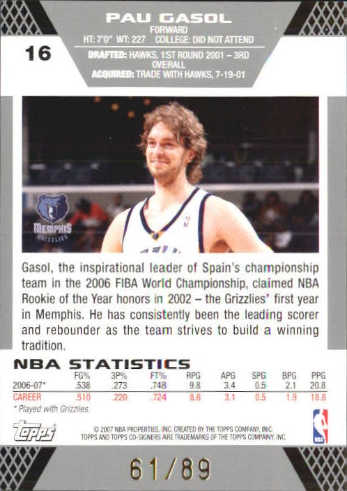 2007-08 Topps Co-Signers Gold Blue #16A Pau Gasol/Rudy Gay back image