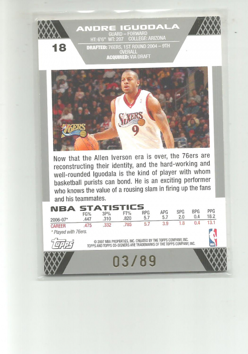 2007-08 Topps Co-Signers Gold Blue #18A Andre Iguodala/Andre Miller back image