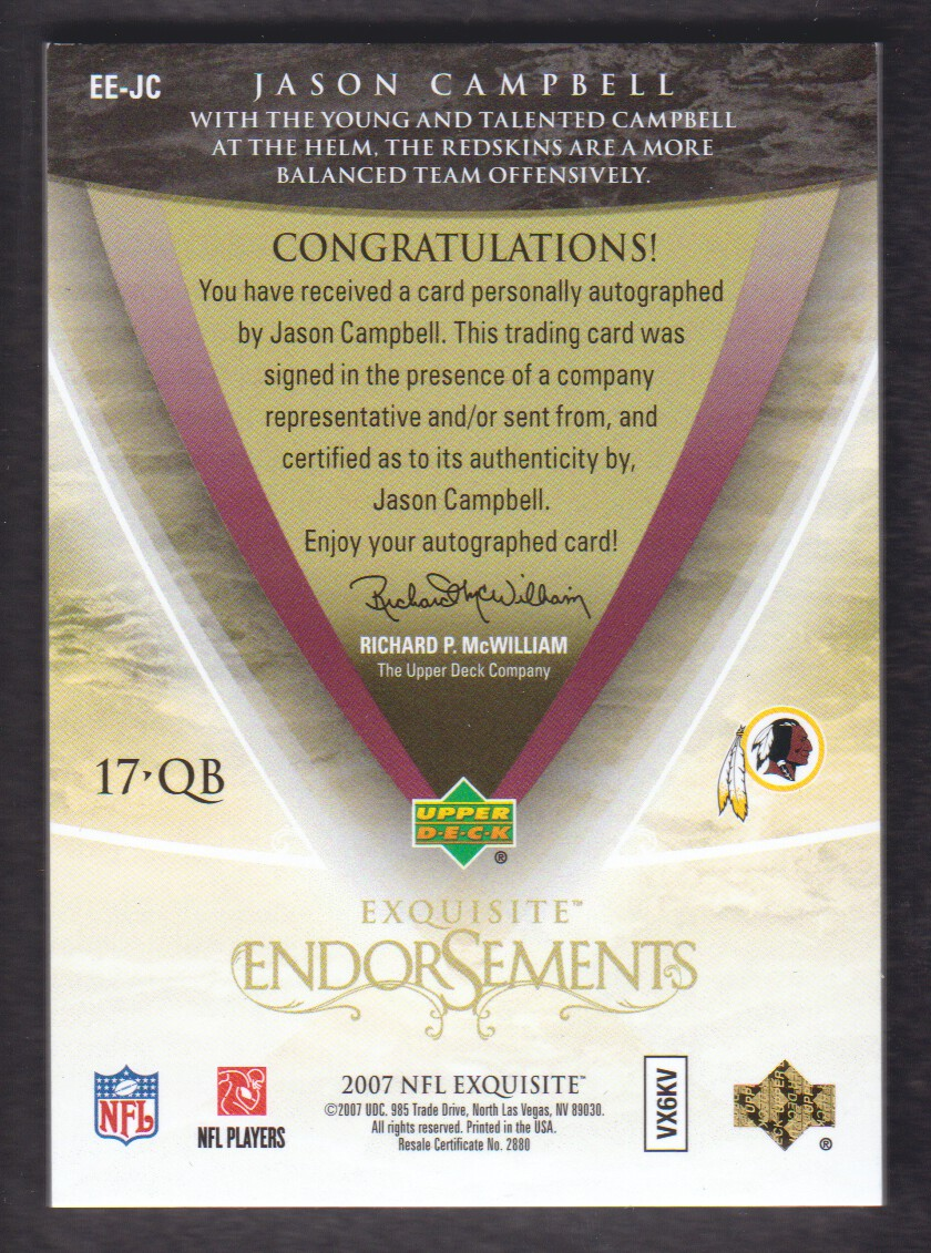 2007 Exquisite Collection Endorsements #JC Jason Campbell back image