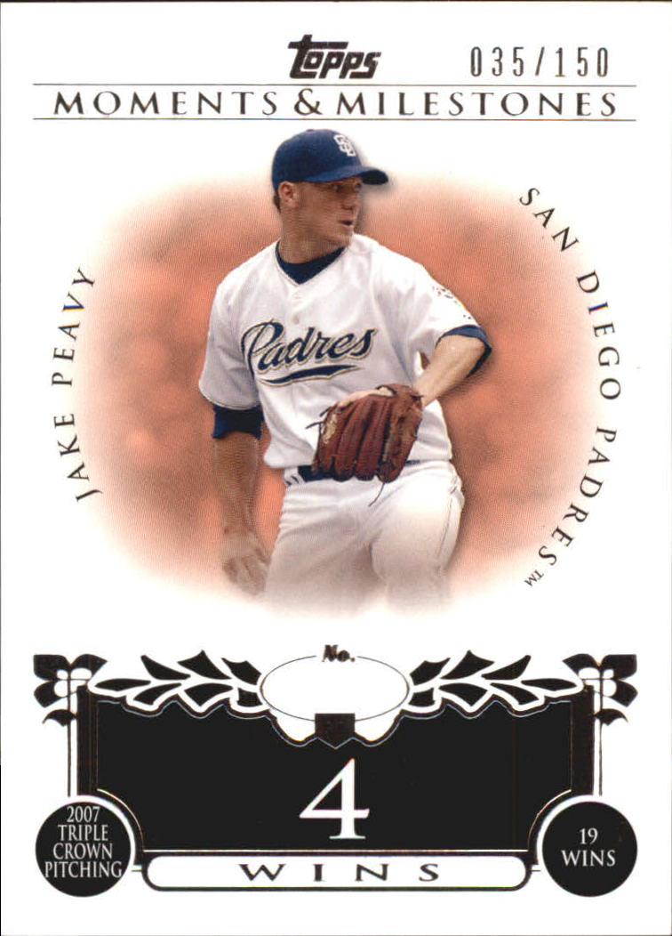 Details About 2008 Topps Moments And Milestones Padres Baseball Card 90 4 Jake Peavy