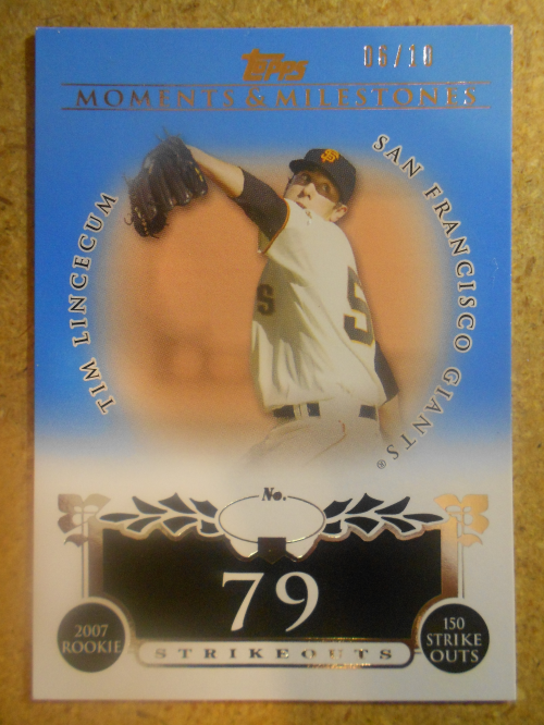 2008 Topps Moments and Milestones Blue #74-79 Tim Lincecum