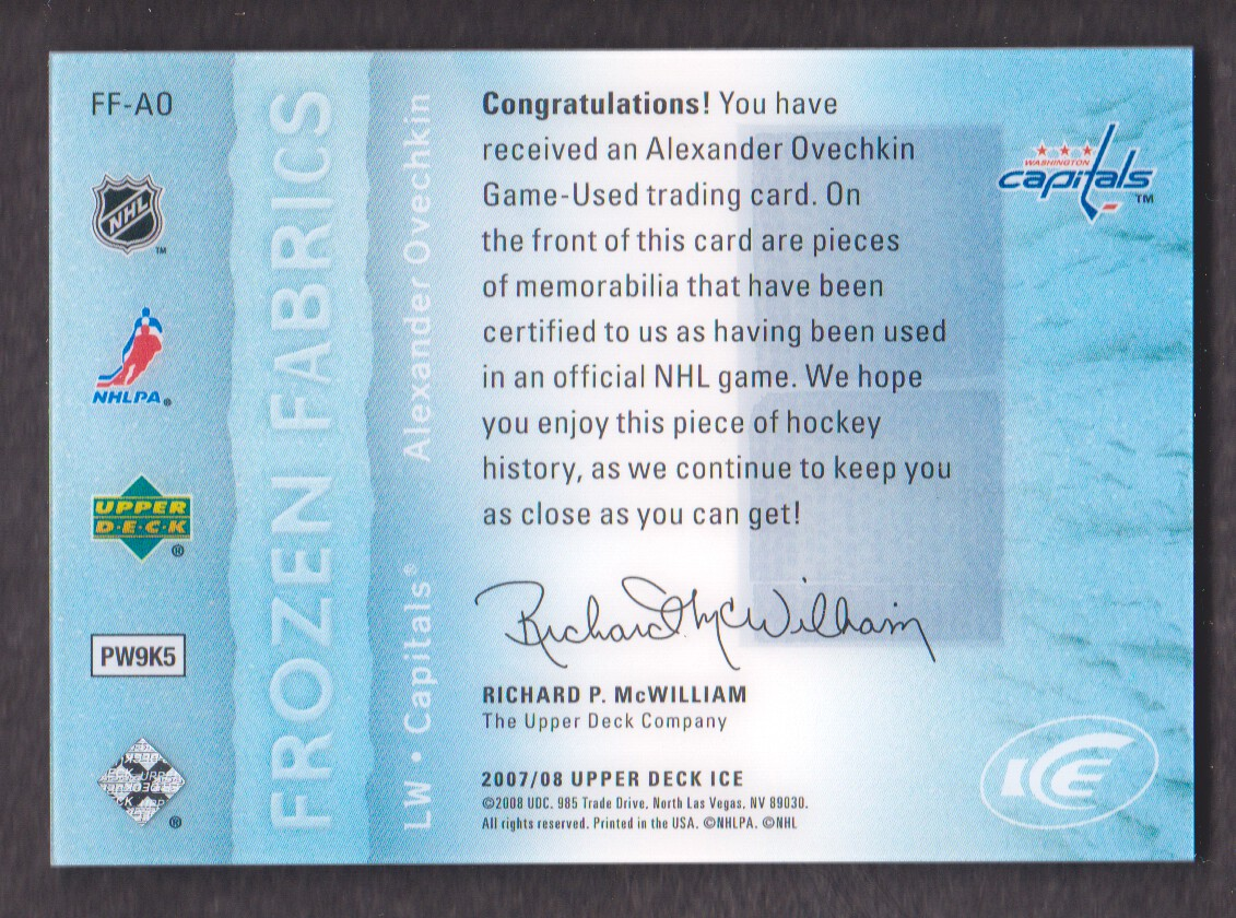 2007-08 Upper Deck Ice Frozen Fabrics Parallel #FFAO Alexander Ovechkin back image