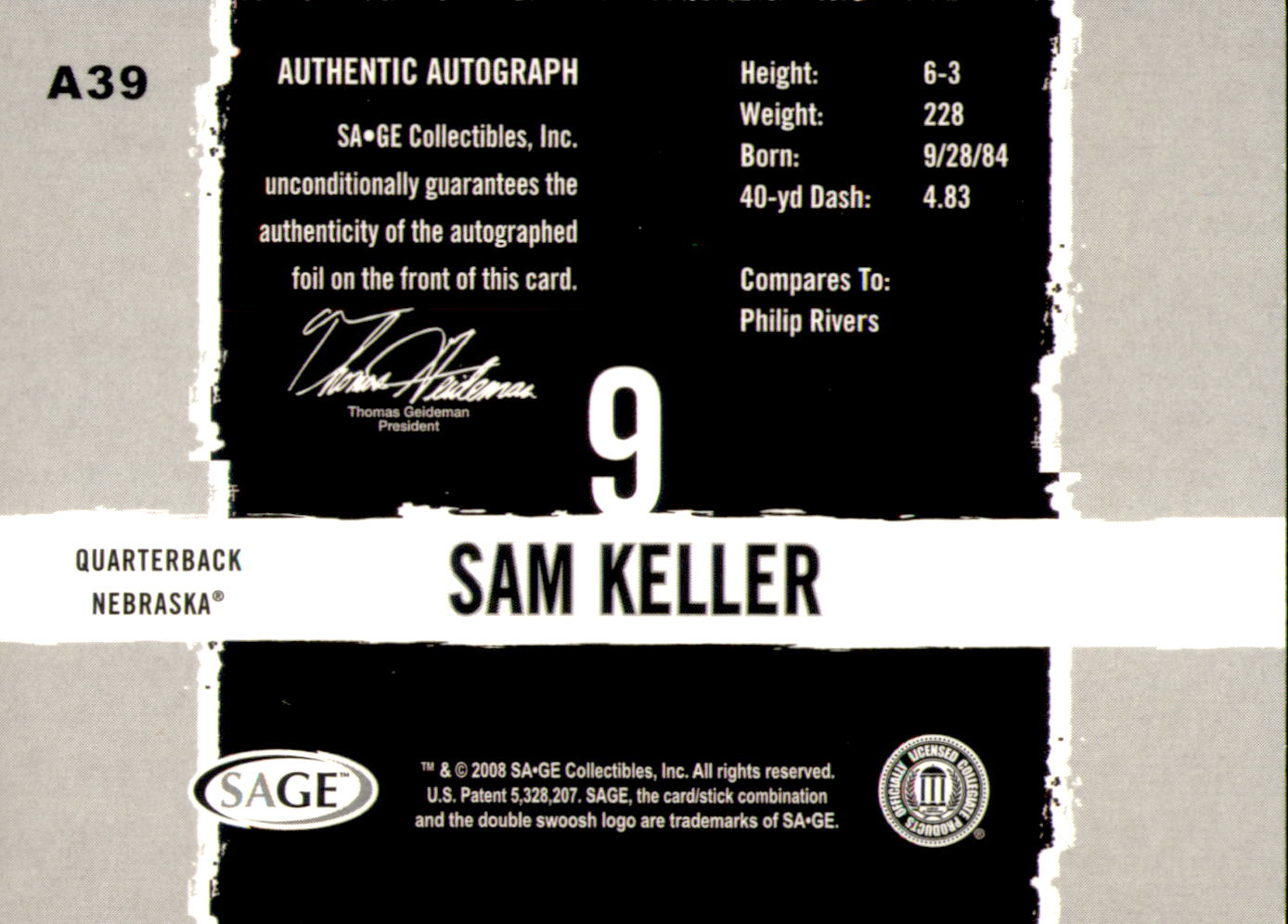 2008 SAGE HIT Autographs Gold #A39 Sam Keller back image