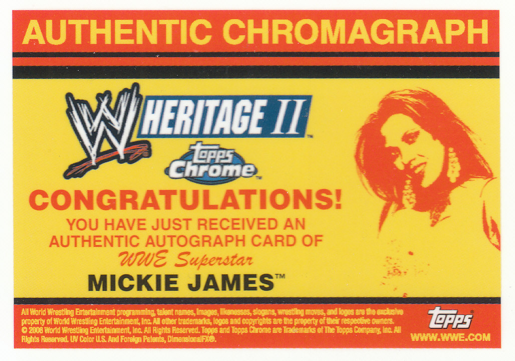 2007 Topps Heritage II Chrome WWE Autographs #NNO Mickie James back image