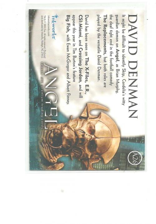 2003 Angel Season Four Autographs #A26 David Denman back image