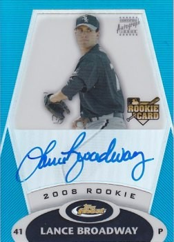 2008 Finest Refractors Blue #156 Lance Broadway AU