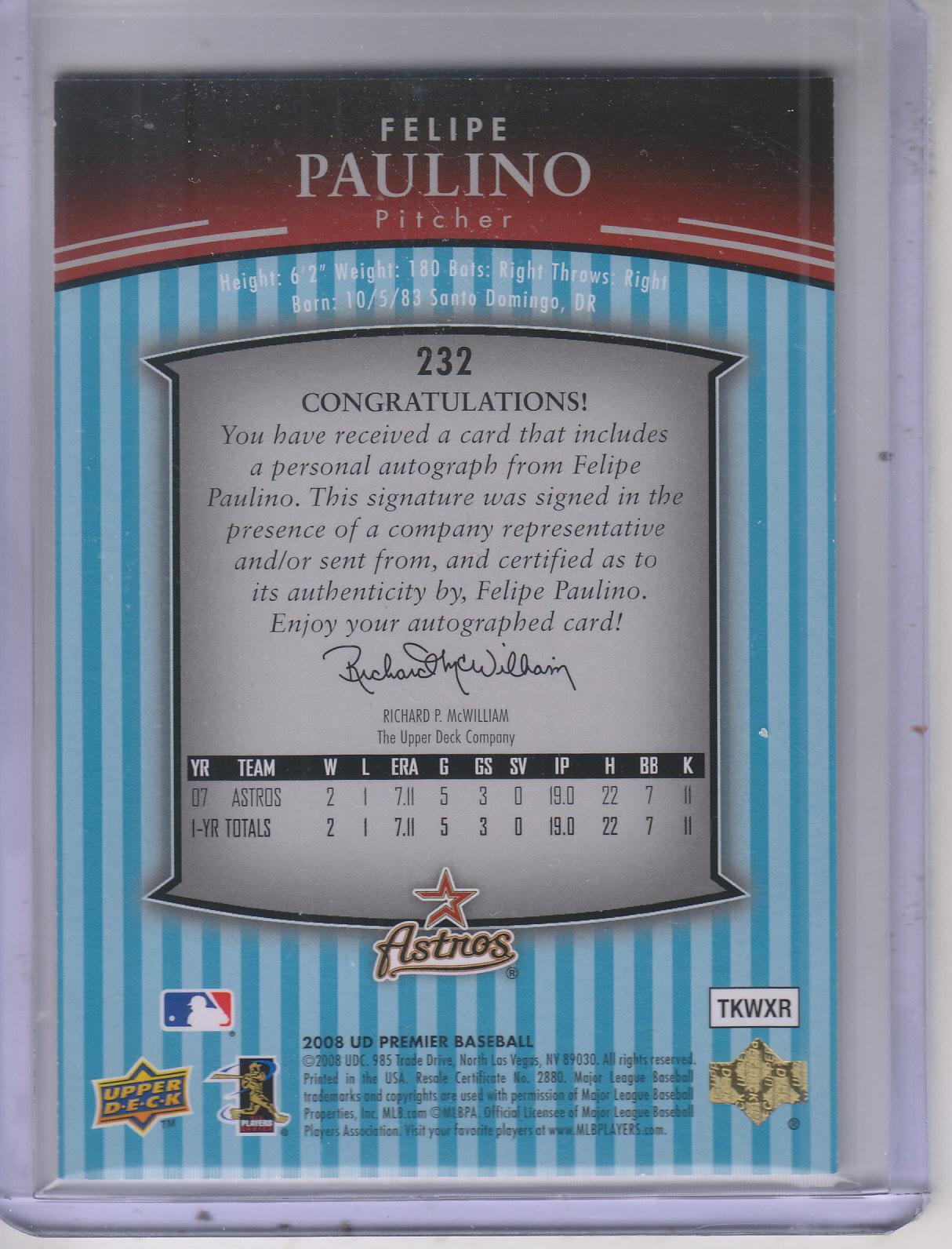 2008 Upper Deck Premier #232 Felipe Paulino AU RC/99 EXCH back image