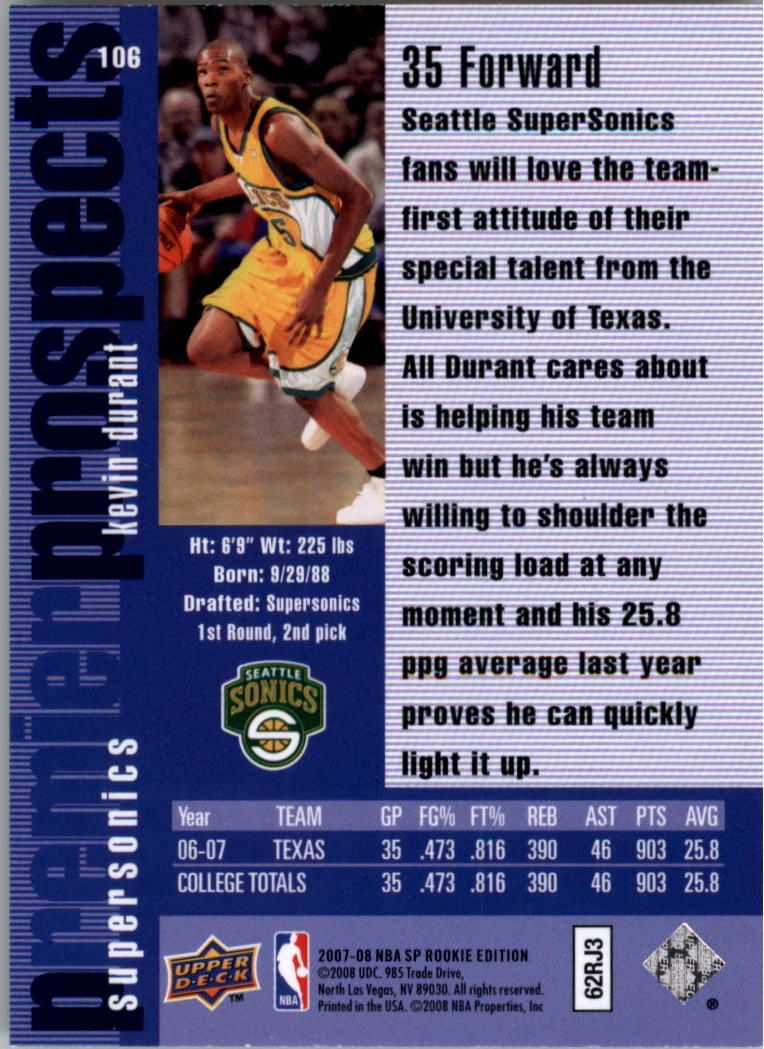 2007-08 SP Rookie Edition #106 Kevin Durant 96-97 back image