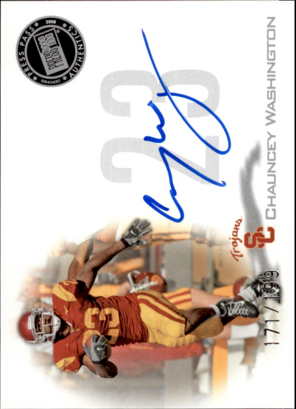 2008 Press Pass Autographs Silver #PPSCW Chauncey Washington
