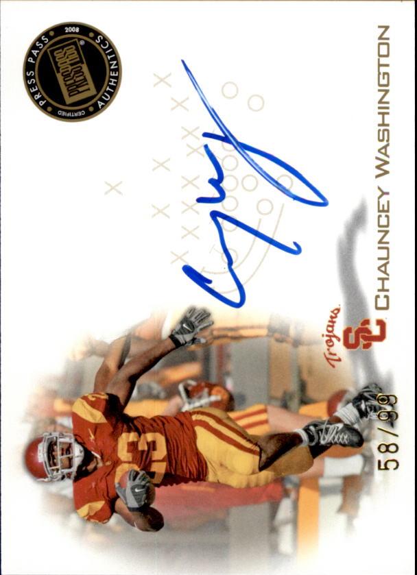 2008 Press Pass Autographs Gold #PPSCW Chauncey Washington