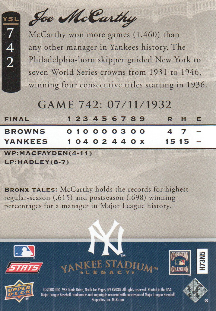 2008 Upper Deck Yankee Stadium Legacy Collection #742 Joe McCarthy back image