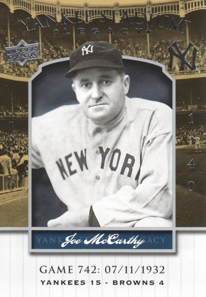 2008 Upper Deck Yankee Stadium Legacy Collection #742 Joe McCarthy