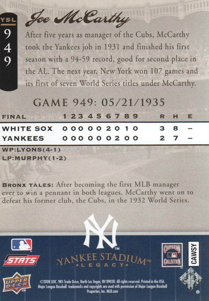 2008 Upper Deck Yankee Stadium Legacy Collection #949 Joe McCarthy back image