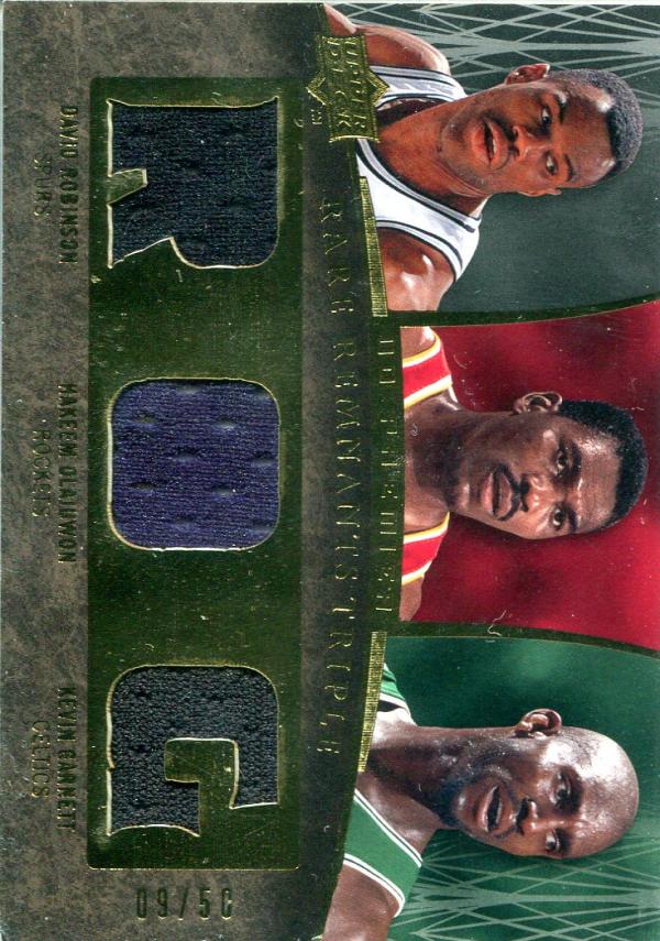 2007-08 Upper Deck Premier Rare Remnants Triple Gold #OGR David Robinson/Hakeem Olajuwon/Kevin Garnett
