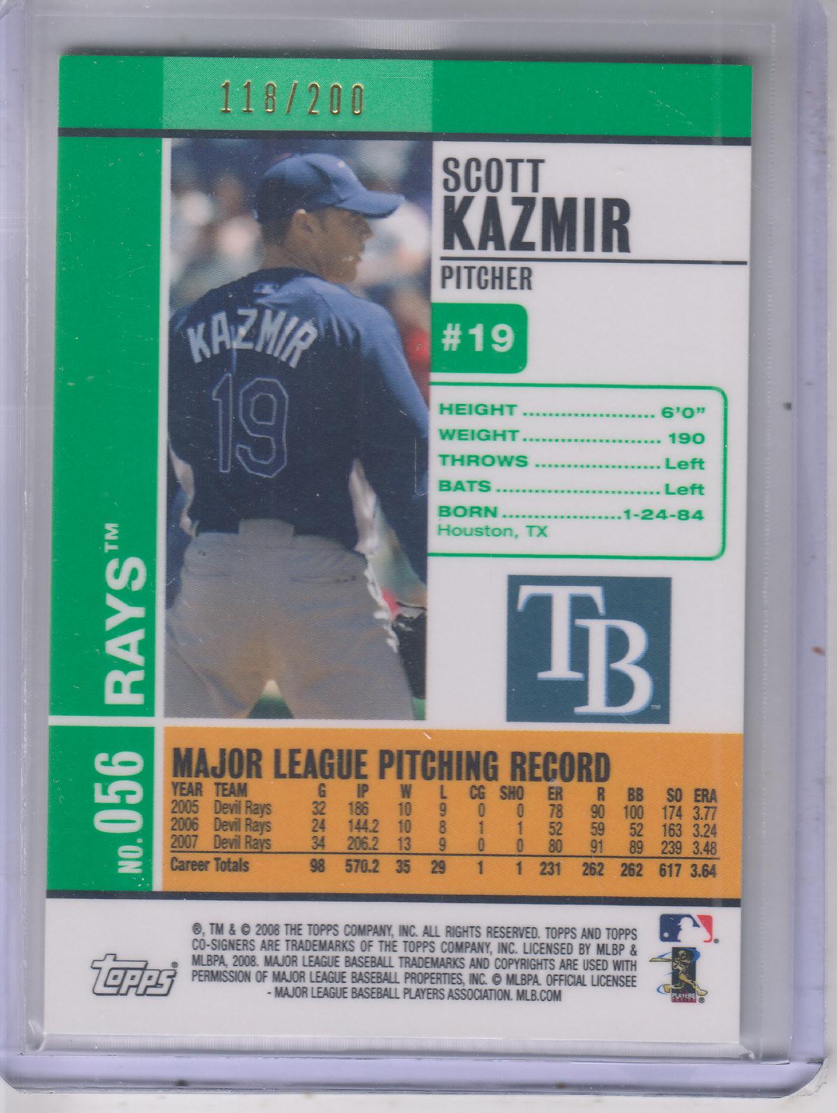 2008 Topps Co-Signers Silver Green #56b Scott Kazmir/Matt Garza back image