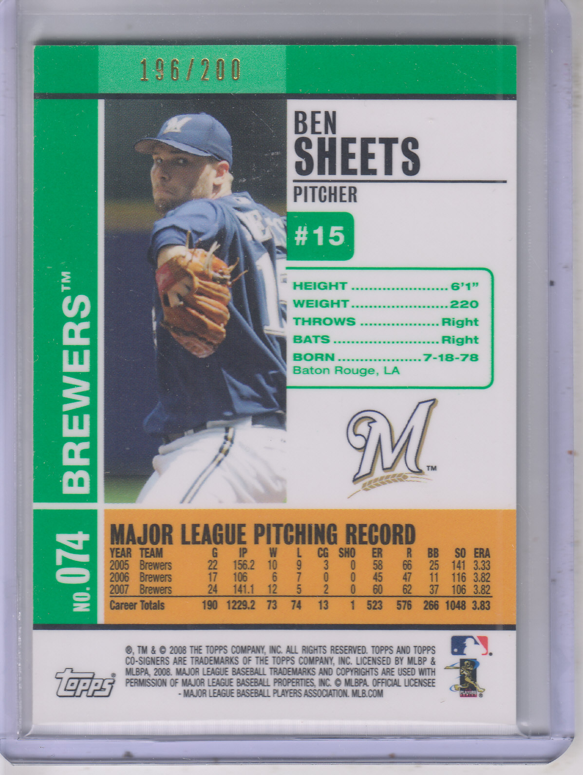 2008 Topps Co-Signers Silver Green #74a Ben Sheets back image