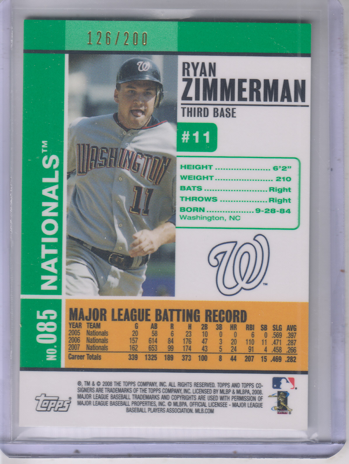 2008 Topps Co-Signers Silver Green #85b Ryan Zimmerman/Austin Kearns back image