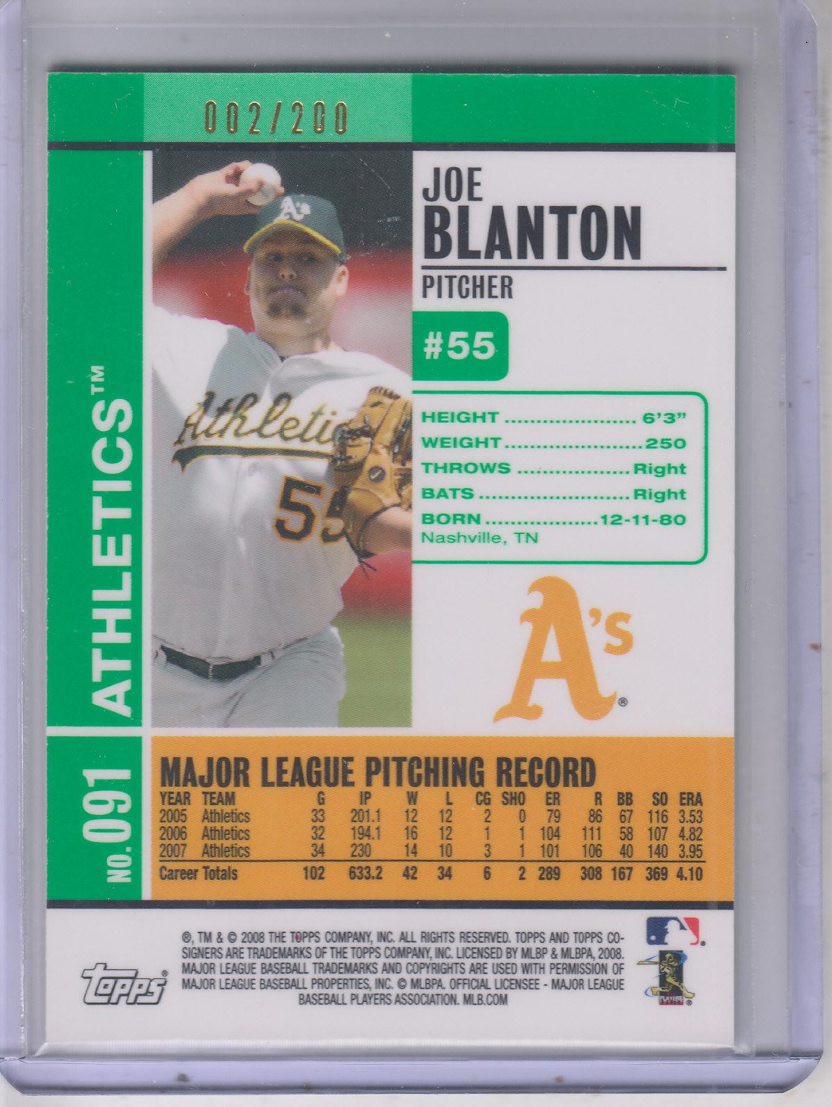 2008 Topps Co-Signers Silver Green #91a Joe Blanton back image