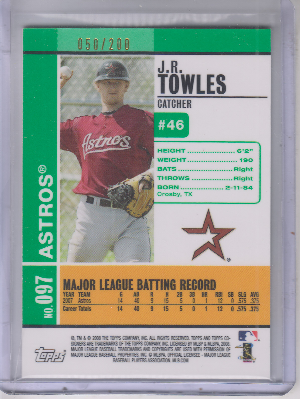 2008 Topps Co-Signers Silver Green #97a J.R. Towles back image