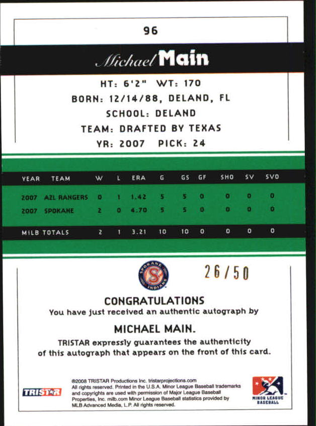 2008 TRISTAR PROjections Autographs Reflectives Green #96 Michael Main back image