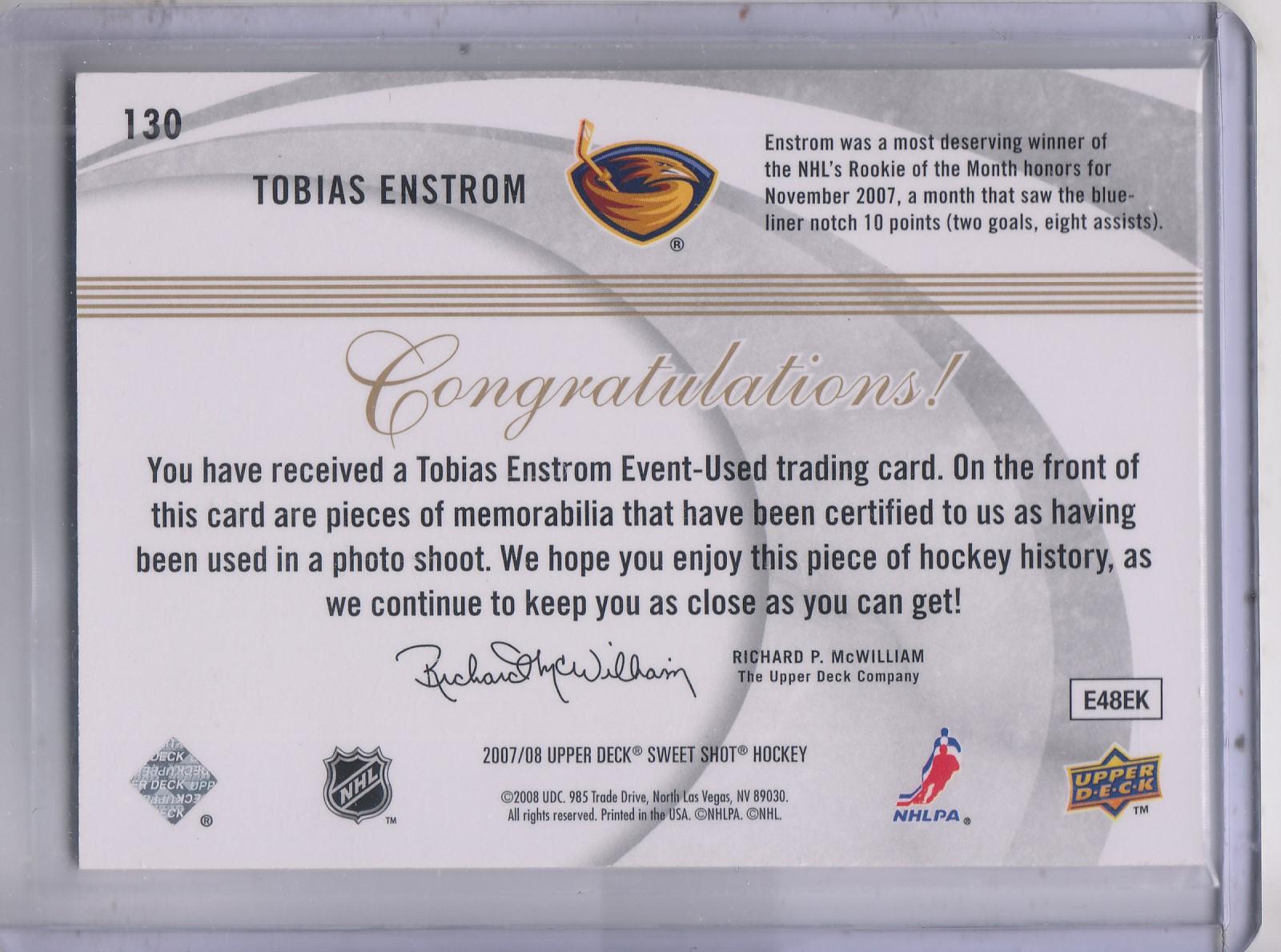 2007-08 Sweet Shot #130 Tobias Enstrom JSY RC back image
