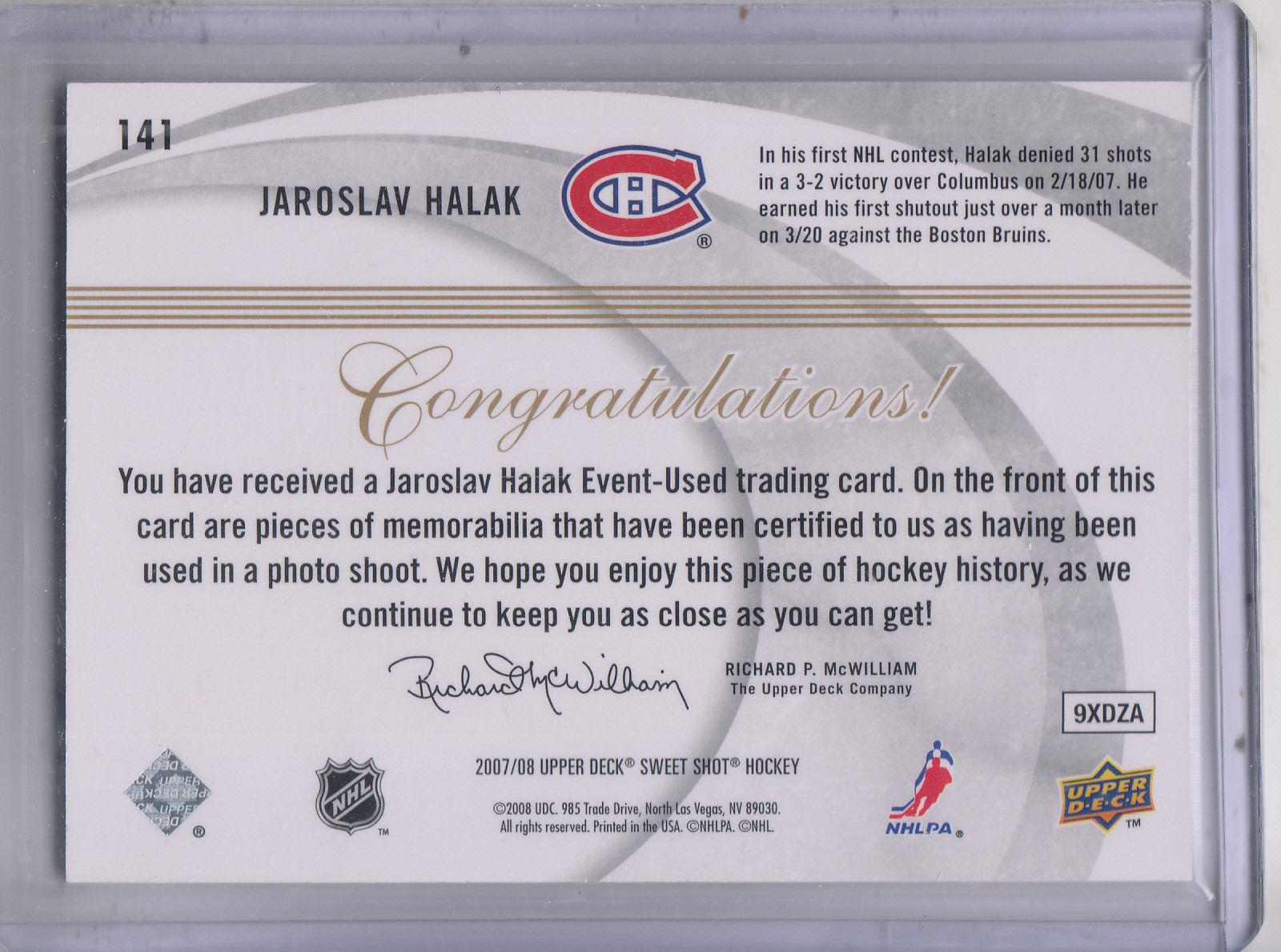 2007-08 Sweet Shot #141 Jaroslav Halak JSY RC back image