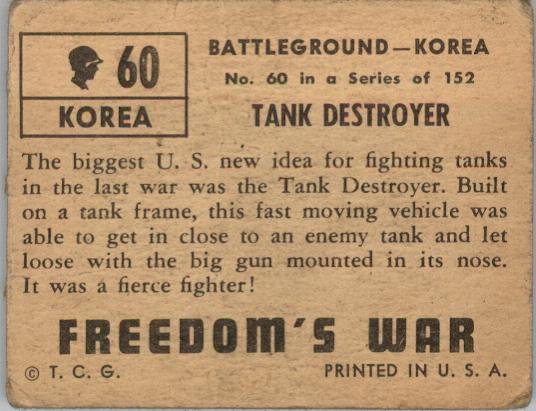 1950 Freedom's War #60 Tank Destroyer back image