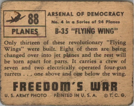 1950 Freedom's War #88 B-35 Flying Wing back image