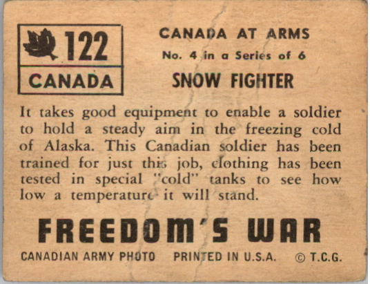1950 Freedom's War #122 Snow Fighter back image
