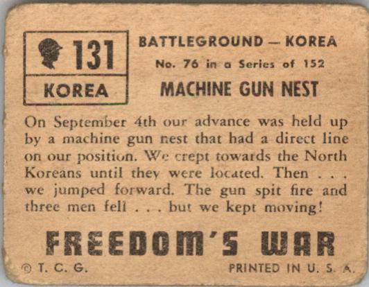 1950 Freedom's War #131 Machine Gun Nest back image
