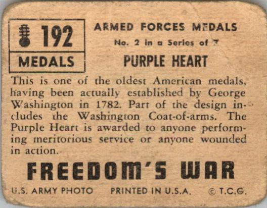 1950 Freedom's War #192 Purple Heart back image