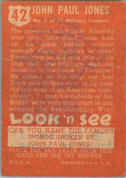 1952 Look 'n See #42 John Paul Jones SP back image